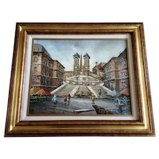 Margj, Spanish Steps in Rome Italy Oil Painting on Canvas Signed