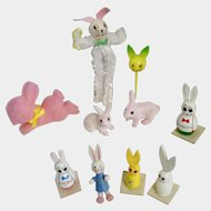 Easter Bunny Rabbit Mid-Century Decorating Trinket Group