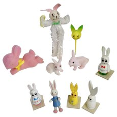 Whimsical Easter Bunny Rabbit Mid-Century Decorating Trinket Group