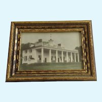 Mt Vernon George and Martha Washington Founding Father Historic Mansion Framed Hand Tinted Photo Circa 1930's