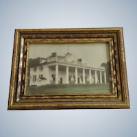 Mt Vernon George and Martha Washington Founding Father Historic Mansion Framed Hand Tinted Photo Circa 1930's