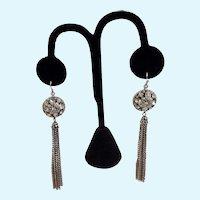 Dangling Silver-Tone Rhinestone Encrusted Fishhook Earrings for Pierced Ears