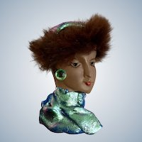 Fancy Lady with Fur Hat Hand Made Design Brooch Pin