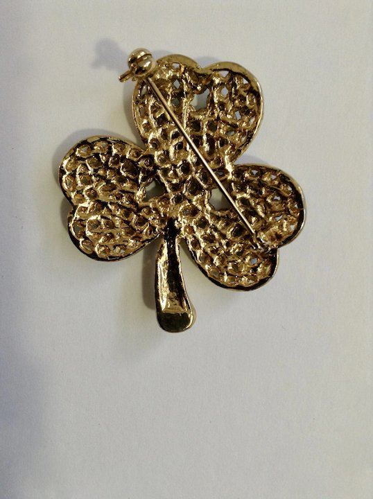 2db8a69abd6 Gold-Tone Clover Encrusted with Green Rhinestones Brooch Pin for Saint  Patrick's Day
