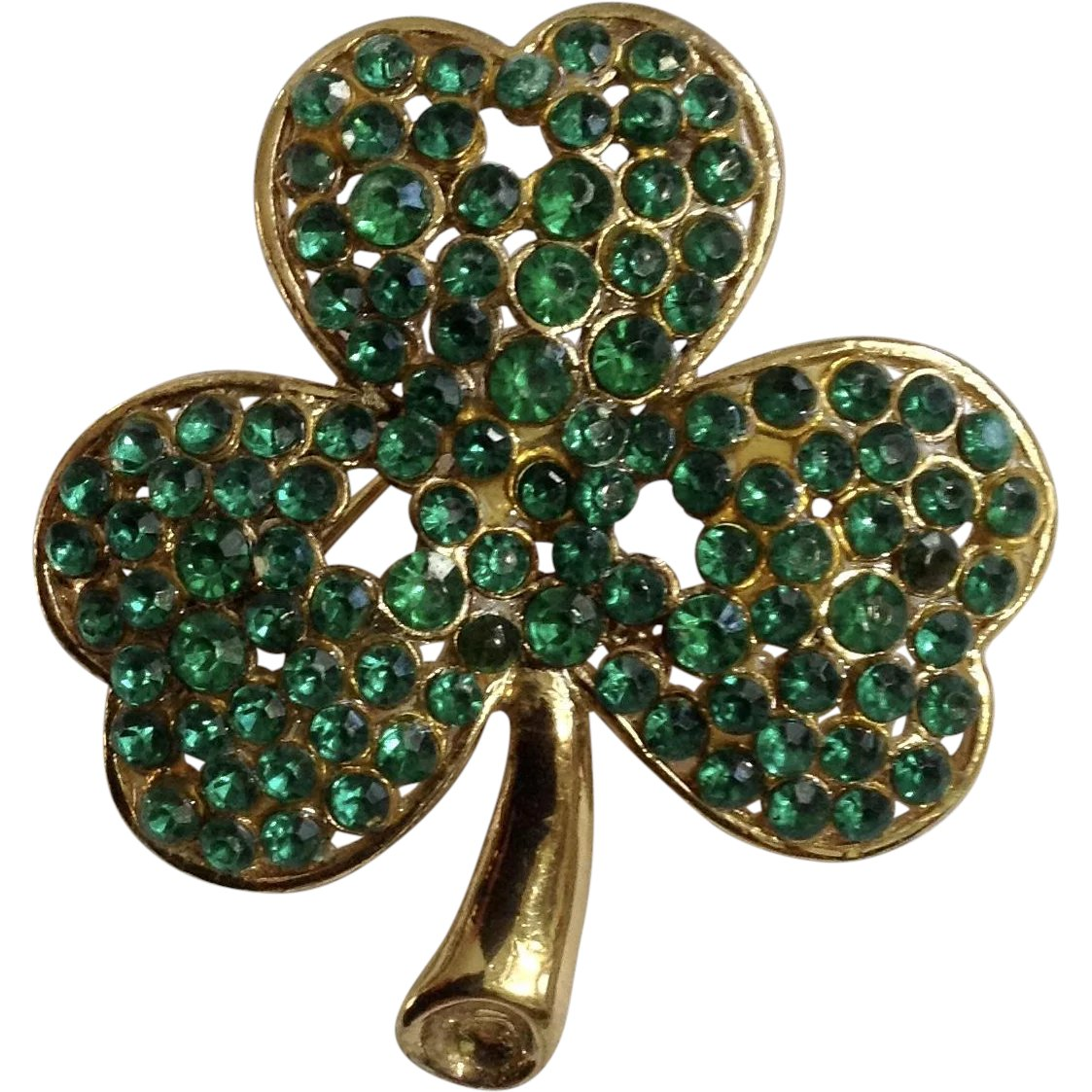 2271af11946 Gold-Tone Clover Encrusted with Green Rhinestones Brooch Pin for Saint :  Gumgumfuninthesun | Ruby Lane
