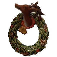 Reindeer Christmas Wall Plaque Porcelain Decoration Holly Berry and Pinecone Wreath