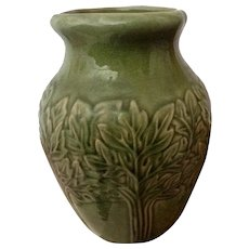 Vintage American Jardiniere Celery Stock Trees Heavy Clay Green Numbered 26 Pottery Vase