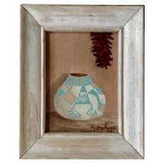 Kathy Tyger, Southwestern Acoma Pueblo Indian Pot With Drying red Chillies Small Acrylic Painting Signed by Artist