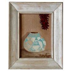 Kathy Tyger, Southwestern Acoma Pueblo Indian Pot Acrylic Painting