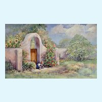 Donna Schwein Floral Pueblo Child Playing Original Watercolor Painting