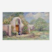 Donna Schwein Floral Pueblo Child Playing Original Watercolor Painting