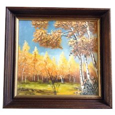 Laird, Aspen Trees in Autumn Oil Painting Signed By Artist