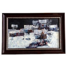 Mike Fallier, Urban Street Scene Oil Painting on Canvas Board Signed by Listed Kansas Artist