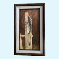 B Bowen, My Little Chickadee Bird on a Nail Oil Painting