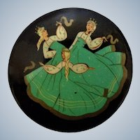Russian Black Lacquer Pin Three Ladies Dancing Hand Painted