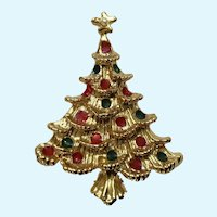 Christmas Tree with Red and Green Ornaments and Gold Star Brooch Pin