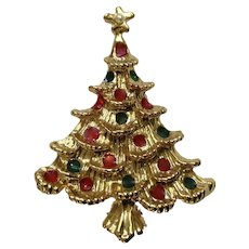 Gold-tone Christmas Tree with Red and Green Ornaments and Gold Star Brooch Pin