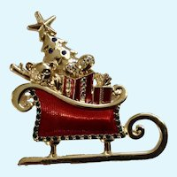 Liz Claiborne, Santa Claus Christmas Sleigh Full of Toys With Rhinestones Brooch Pin
