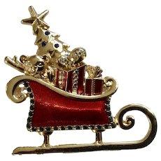 Liz Claiborne, Santa Claus Christmas Sleigh Full of Toys With Rhinestones Brooch Pin
