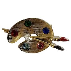 Artist Palette with Brushes Gold-Tone Brooch Pin with Multi-Colored Rhinestones