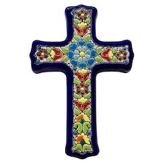Cearco Pintado a Mano Ceramic Blue Cross Wall Hanging Plaque Made in Spain