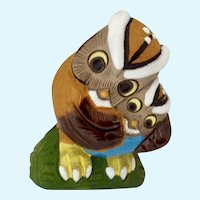 Witty Owl Birds Figurine Peru Glazed Terracotta Clay
