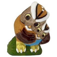 Owl Birds Figurine Mom and Baby Peru Glazed Terracotta Clay Hand Made