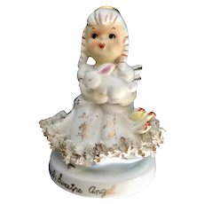 Vintage TMJ April Sweet Pea Angel of the Month Holding Easter Bunny Rabbit Spaghetti Figurine Japan
