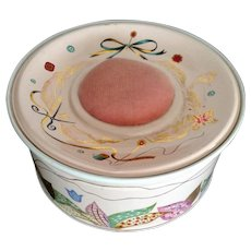 Vintage Sewing Tin with Pin Cushion Pink Pastels and Gold Butterfly