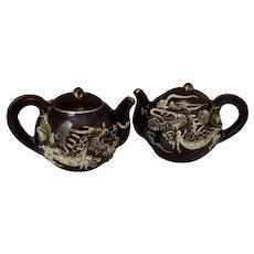 Vintage Dragonware Moriage Teapot Salt and Pepper Shakers S&P Ceramic Japan