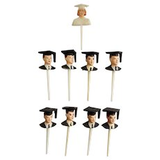 Mid-Century  Graduation Cake Toppers or Cupcake Picks Plastic 8 Men and 1 Woman