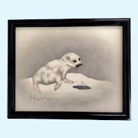 Peggy Harris, Baby Harp White Seal Oil Painting