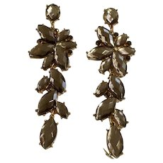 Gorgeous Dangling Taupe Rhinestone Sparkle Flowers with Stud posts for Pierced Ears