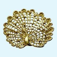 Gold-Tone Metal Filigree Peacock Brooch Pin