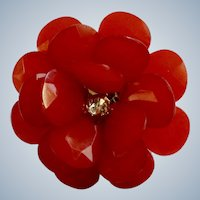 Beautiful Red Faceted Petal Flower with Rhinestone Center Ring Adjustable Size