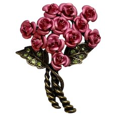 Gorgeous Bouquet of Pink Roses with Green Sparkling Rhinestones Brooch Pin Avon