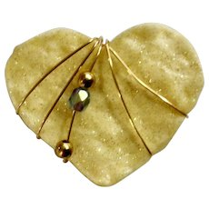 Iridescent Glitter Cream Colored Heart with Gold-tone Wire and Beads Brooch Pin