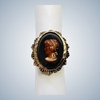 Lovely Black and Brown Faux Cameo Ring 7.25 Finger Size