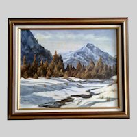 M Tesar, Snow Covered Forest Landscape Acrylic Painting