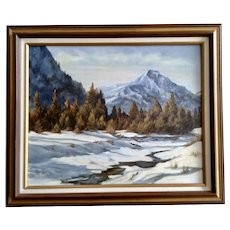 M Tesar, Snow Covered Forest Landscape Acrylic Painting Signed by Artist