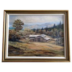 M Tesar, Homestead in Mountainous Terrain Acrylic Painting Signed by Artist
