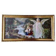 Lindberg, Heilige Schutzengel Holy Guardian Angel With Children On Perilous Bridge 1960's Print