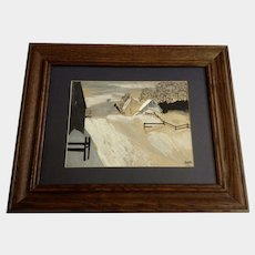 Combs, Primitive Snow-covered Landscape Rural Ranch Acrylic Painting Signed by Artist