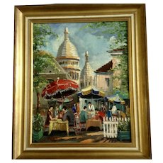 Place du Tertre Cafe in Montmartre, Paris, France Mid-Century Impasto Street Scene Oil Painting Signed by Artist