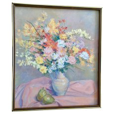 Kornblau, Large Pastel Colored Bouquet of Wildflowers Still Life Oil Painting Signed by Artist
