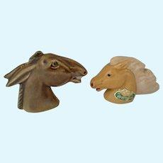 Vintage Rosemeade Dakota Pottery Mule & Horse Heads Salt & Pepper Shaker Group S&P