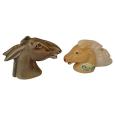 Vintage Rosemeade Dakota Pottery Mule & Horse Heads Salt & Pepper Shaker Group S&P