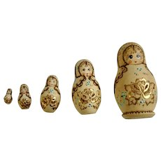 Russian Matryoshka Babushka Nesting Dolls Hand Painted Wooden Wood-burning Designs 5 pieces