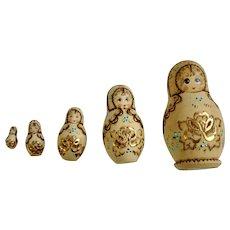 Russian Matryoshka Babushka Nesting Dolls Hand Painted Wooden Wood-burning Designs 5 pieces