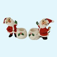 Holt Howard Santa Claus Candle Stick Holders Christmas Figurines